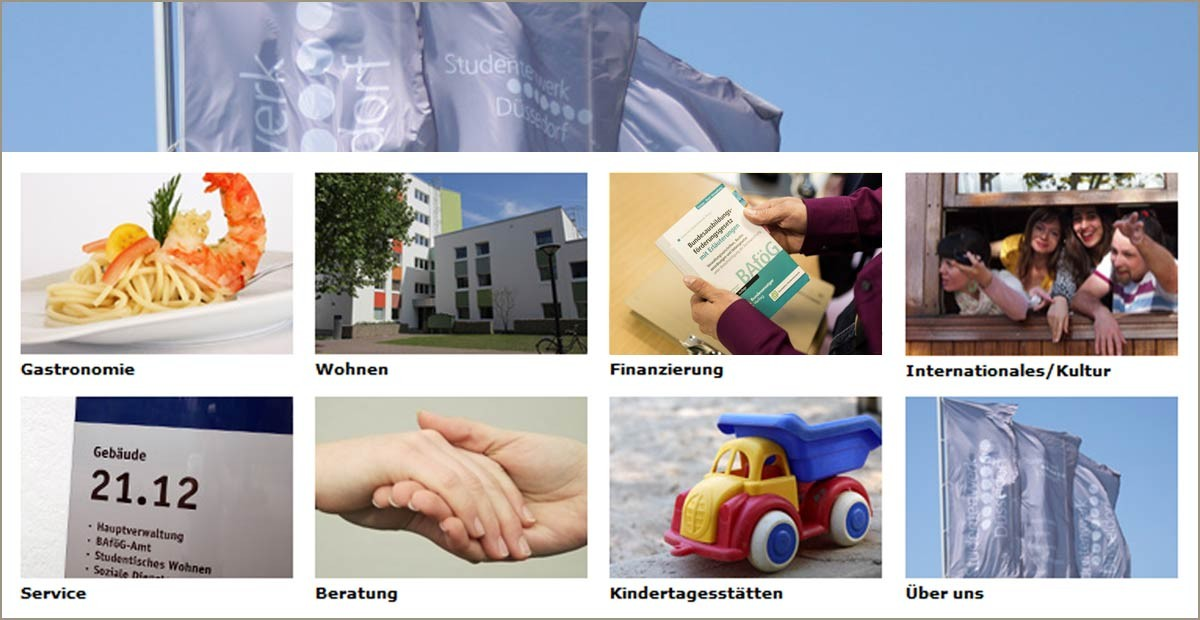 Düsseldorf Student Services, the photo collage shows a flag, a shrimp on a plate, a residence hall, a book, students looking out of a window, a nameplate, intertwined hands, a toy car and three flags.