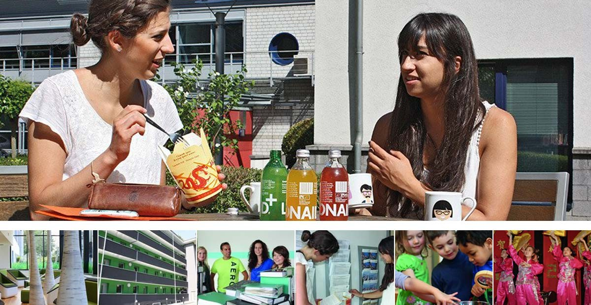 Essen-Duisburg Student Services, the collage shows photographs of two young women eating a snack in the sun, a residence hall, a four-member counseling team, students, children at play and dancers dressed in red.