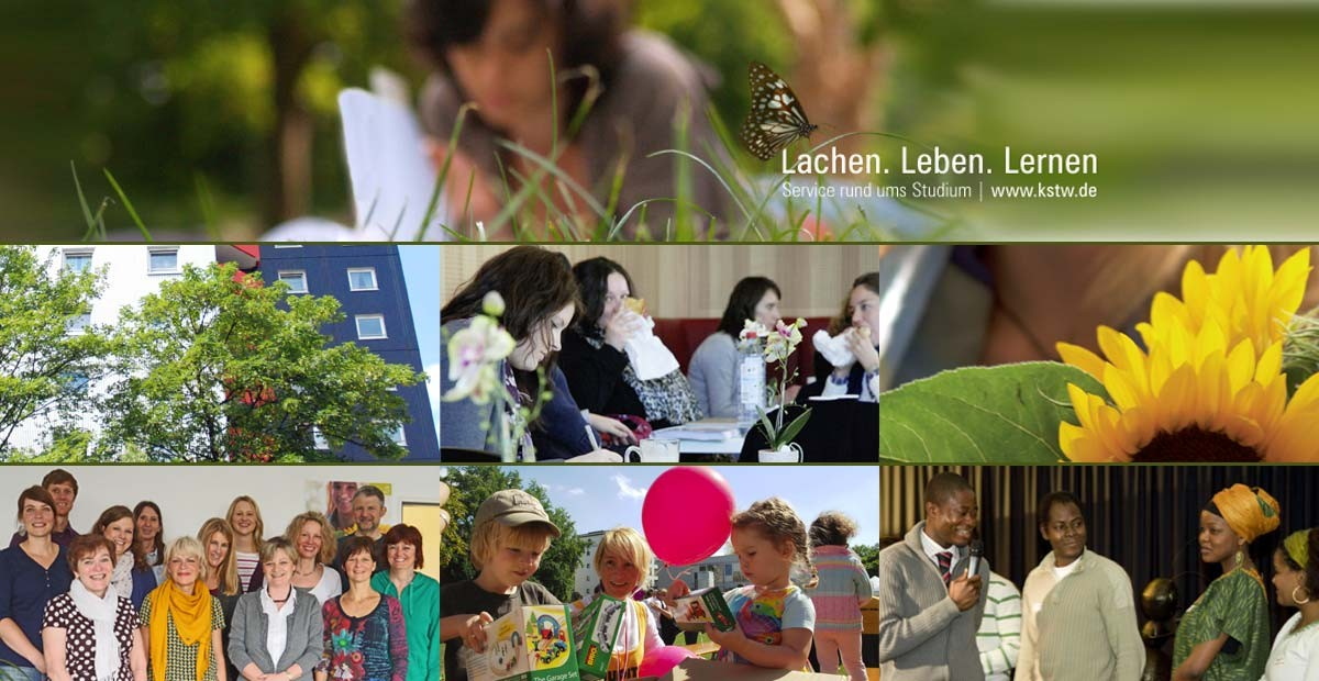 Cologne Student Services, a collage comprised of seven pictures showing a woman sitting on grass, a residence hall, students in the cafeteria, a sunflower, a team of counselors, children with a balloon and people of various nationalities at an event.