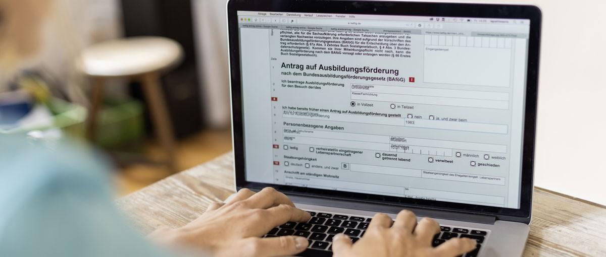 Ein BAföG Onlineantrag auf einem Bildschirm.