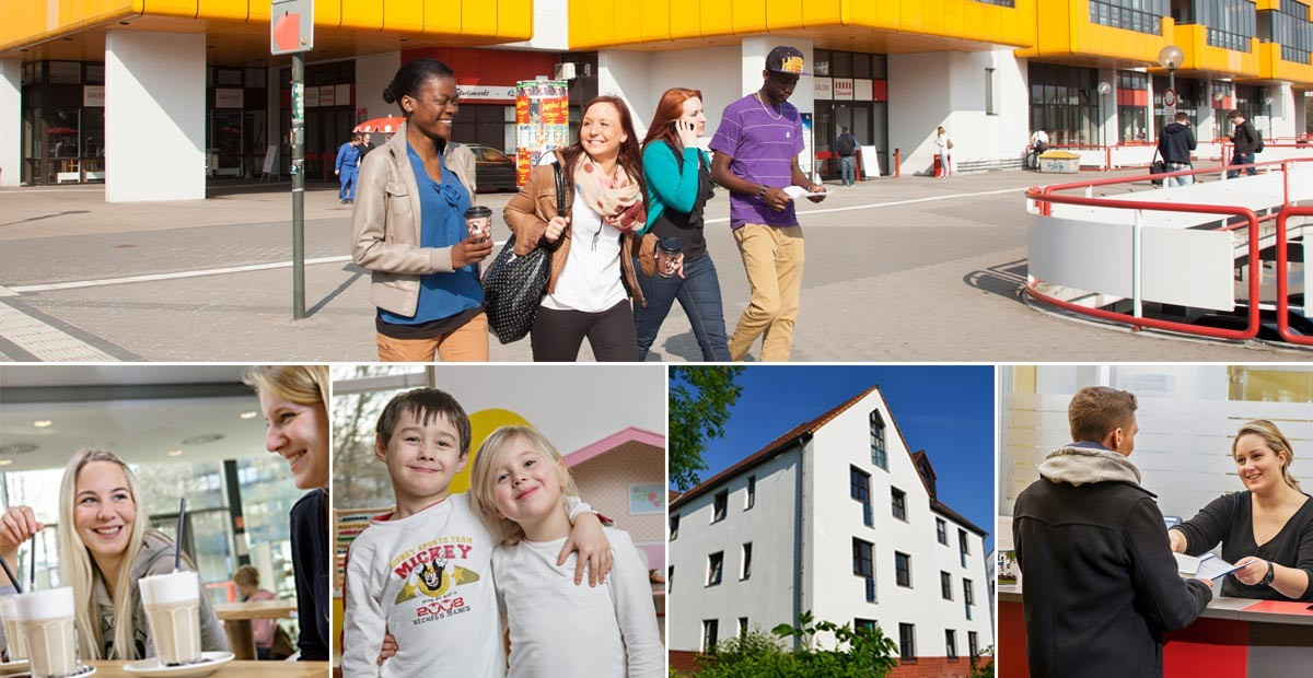 Im oberen Teil der Collage kommen 3 Frauen und ein Mann verschiedener Nationalitäten aus dem Gebäude des Studierendenwerks. 4 Bilder im unteren Teil zeigen 2 Studierenden beim Kaffee trinken. 2 Kinder in einem Spielzimmer, die freundlich in die Kamera lächeln.