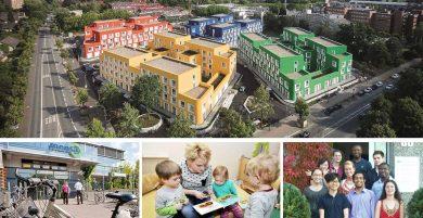 4 Fotos zeigen ein großes Bild mit einer Wohnheimanlage, darunter 3 Bilder mit dem Mensa Gebäude, eine Erzieherin, die Kindern aus einem Buch vorliest und das 10-köpfige internationale Team der Sozialberatung.