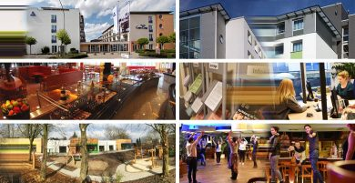 6 Bilder zeigen das Verwaltungsgebäude, ein Wohnheim, die Mensa, Studierende, spielende Kinder und 2 Frauen bei einer Party.