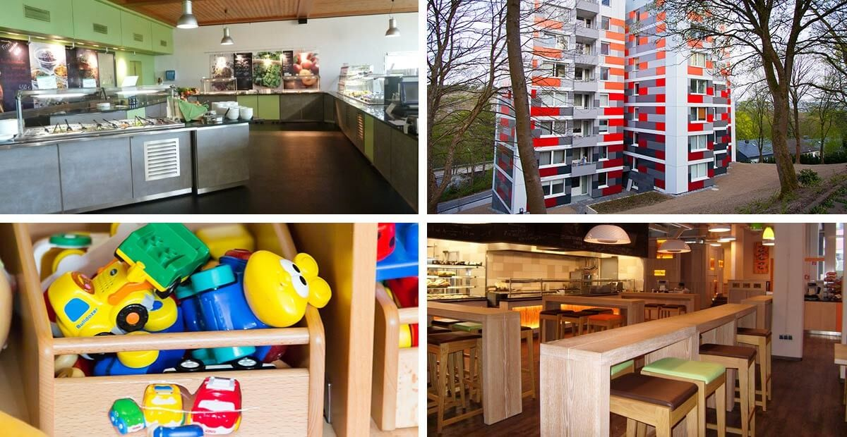 Vier Bilder zeigen eine eine Cafeteria, Mensa, ein Wohnheim, eine Kiste mit Spielzeug aus der Kita.