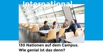 Studierende verschiedener Nationalitäten sitzen in der Mensa. Über dem Bild steht International. Unter dem Bild 150 Nationen auf dem Campus. Wie genial ist das denn?
