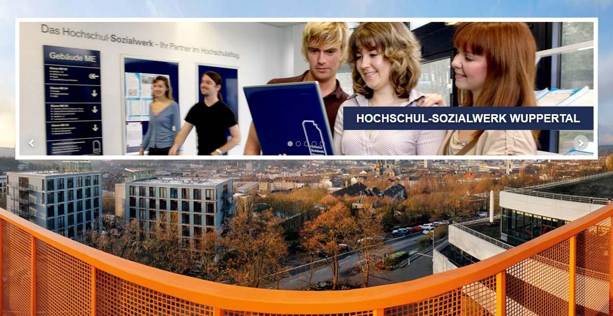 Blick vom Dach auf die Stadt Wuppertal und Bild von drei Studierenden mit Notebook im Gebäude.