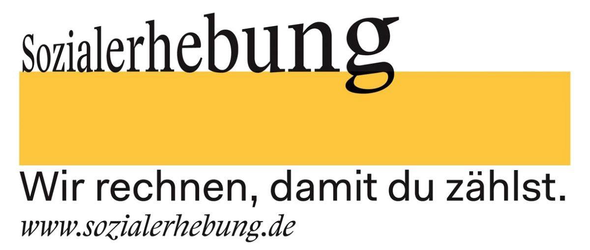 """Unter dem Schriftzug """"Sozialerhebung"""" und einer gelben Fläche stehen die Worte """"Wir rechnen, damit du zählst. www.sozialerhebung.de"""""""