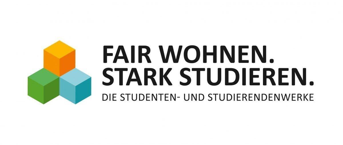 Kampagne Logo besteht aus drei Würfeln in den Farben grün, cyan und orange sowie einem Schriftzug Fair wohnen, stark studieren, die Studenten und Studierendenwerke.