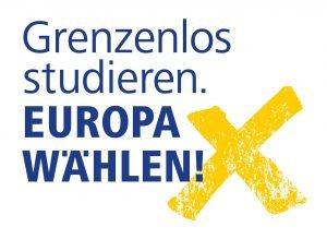 das logo der gemeinsamen kampagne von hochschulen und studierendenwerke zur europawahl zu gehen